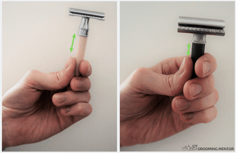 showing two different ways how to hold your razor