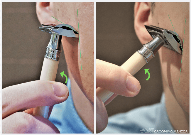 showing steep and shallow shaving angle
